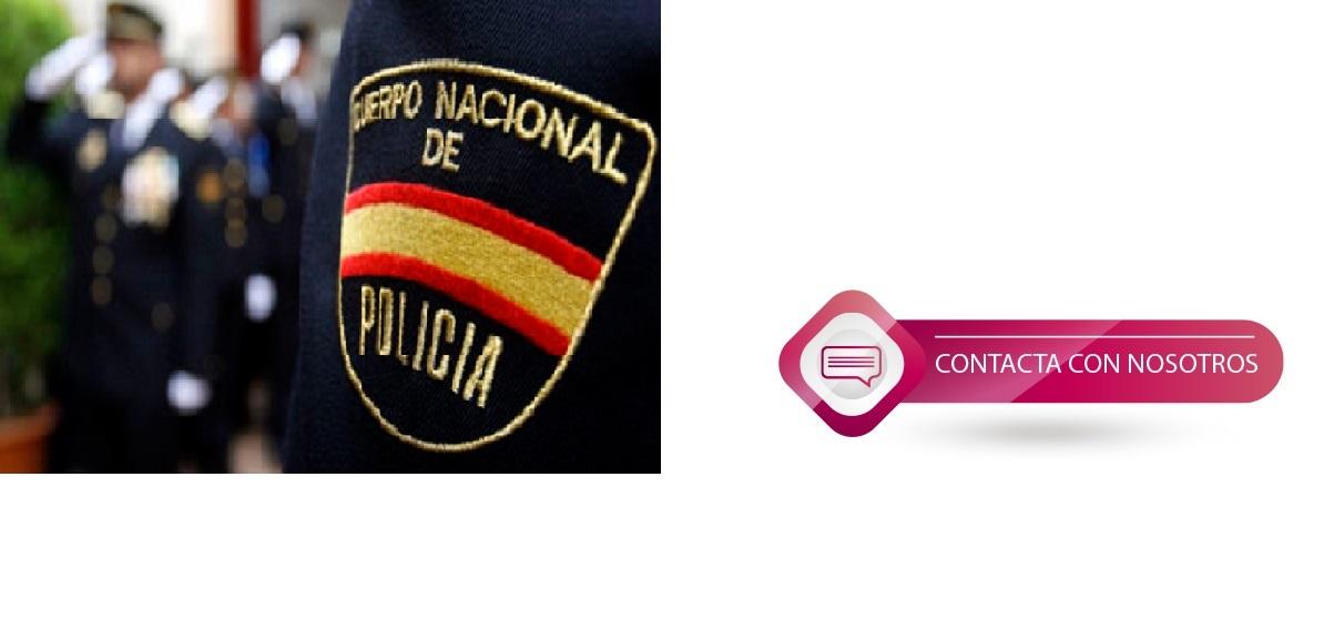 manga de uniforme con las palabras cuerpo nacional de policia